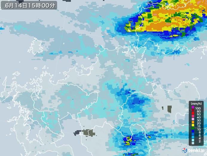福岡県の雨雲レーダー(2020年06月14日)