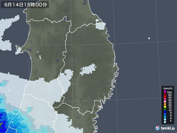 岩手県の雨雲レーダー(2020年06月14日)