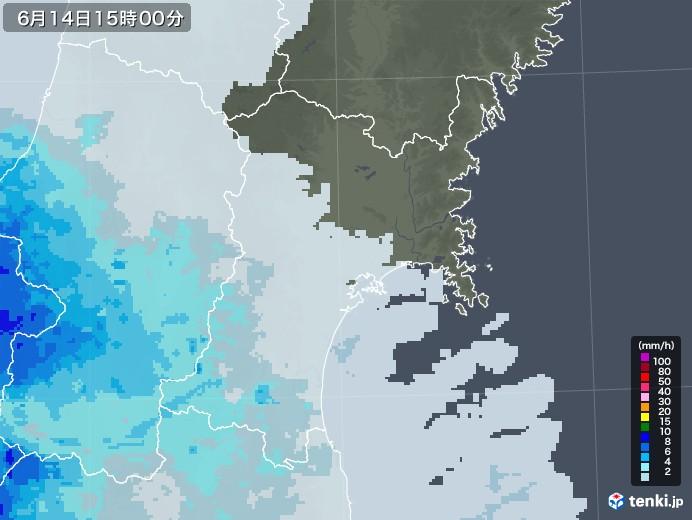 宮城県の雨雲レーダー(2020年06月14日)
