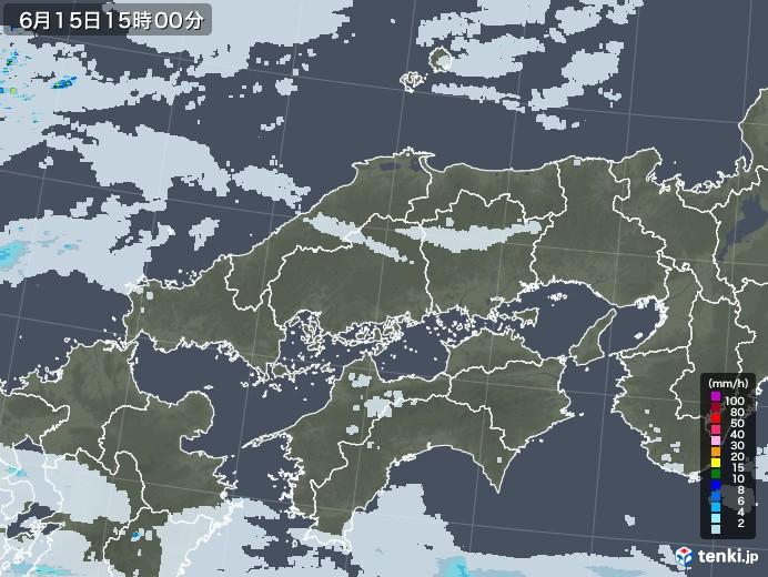 中国地方の雨雲レーダー(2020年06月15日)