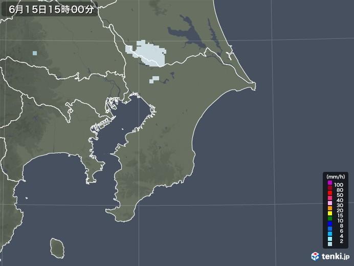 千葉県の雨雲レーダー(2020年06月15日)