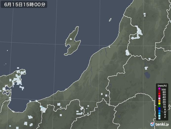 新潟県の雨雲レーダー(2020年06月15日)