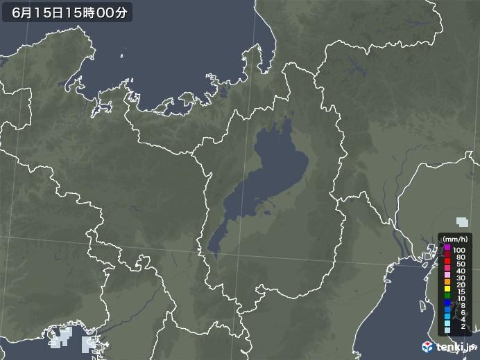 滋賀県の雨雲レーダー(2020年06月15日)