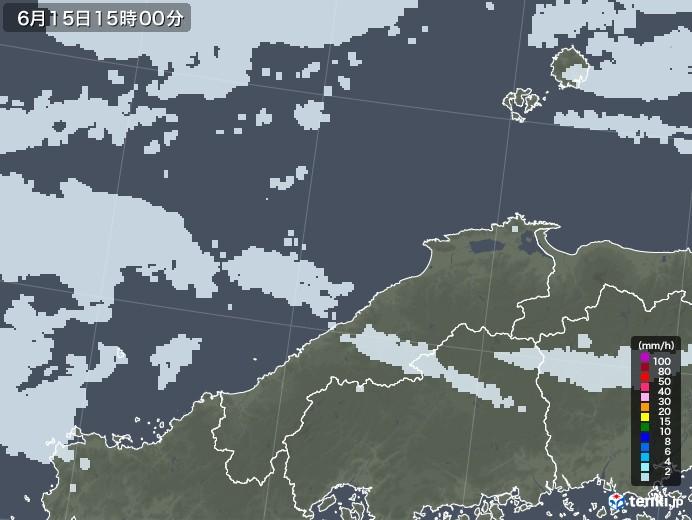 島根県の雨雲レーダー(2020年06月15日)
