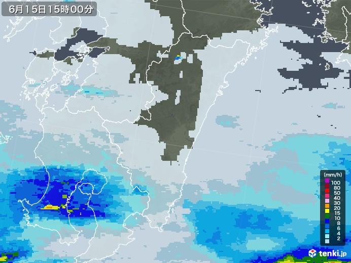 宮崎県の雨雲レーダー(2020年06月15日)