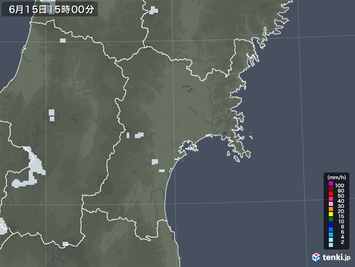 宮城県の雨雲レーダー(2020年06月15日)