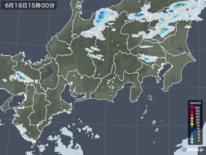 東海地方の雨雲レーダー(2020年06月16日)