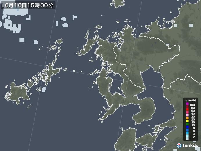 長崎県の雨雲レーダー(2020年06月16日)