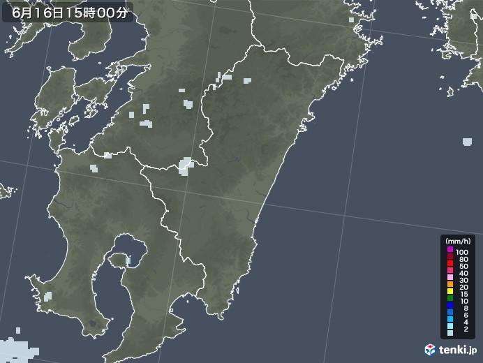 宮崎県の雨雲レーダー(2020年06月16日)