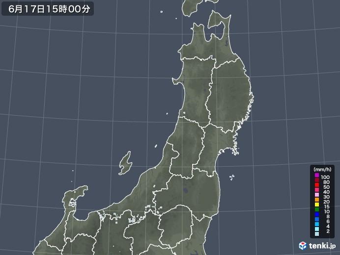 東北地方の雨雲レーダー(2020年06月17日)