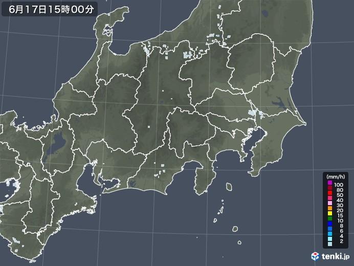 関東・甲信地方の雨雲レーダー(2020年06月17日)