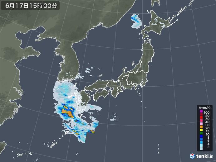 雨雲レーダー(2020年06月17日)