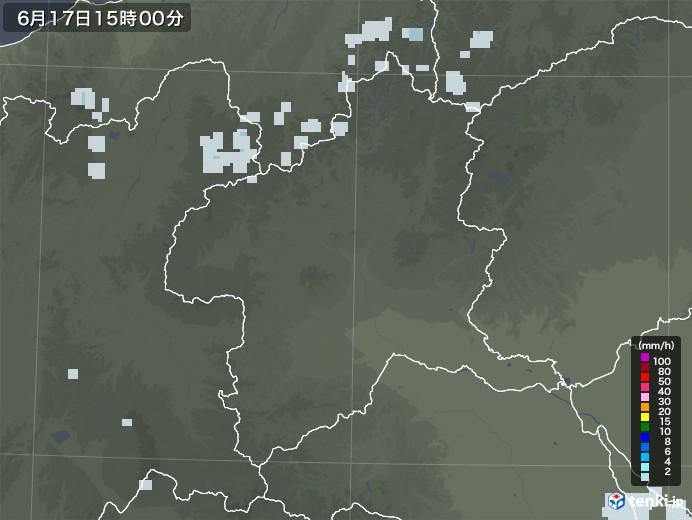 群馬県の雨雲レーダー(2020年06月17日)