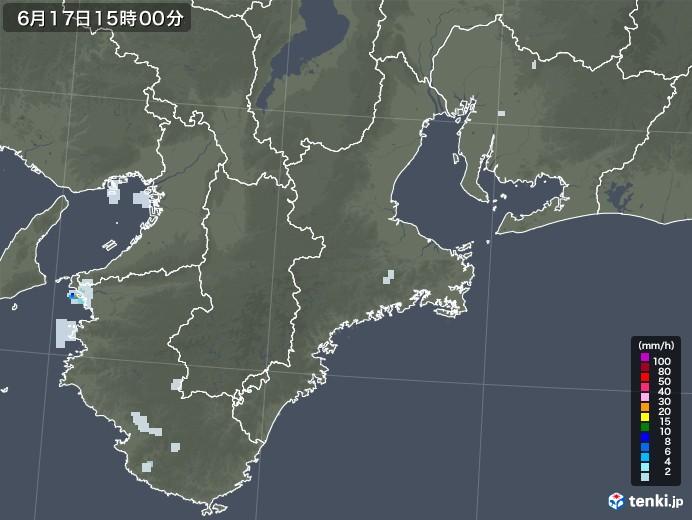 三重県の雨雲レーダー(2020年06月17日)