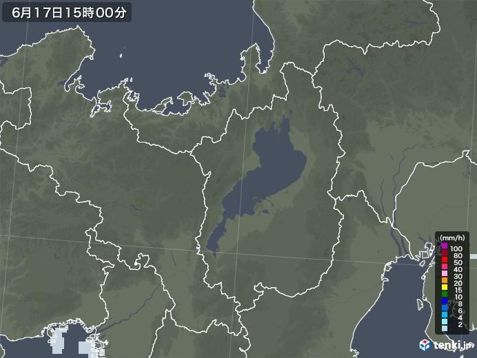 滋賀県の雨雲レーダー(2020年06月17日)