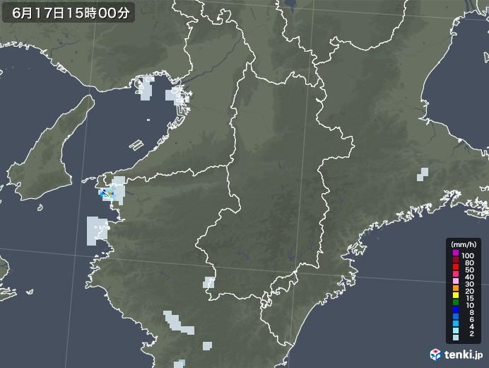 奈良県の雨雲レーダー(2020年06月17日)