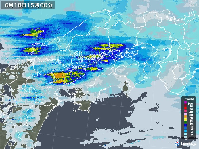 四国地方の雨雲レーダー(2020年06月18日)