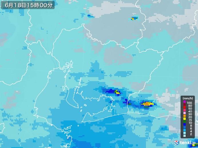愛知県の雨雲レーダー(2020年06月18日)