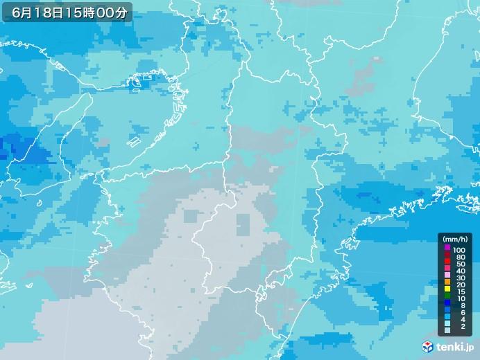 奈良県の雨雲レーダー(2020年06月18日)