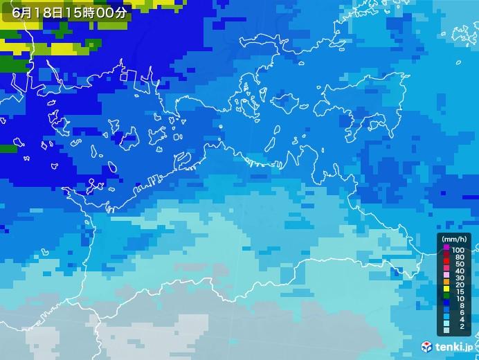 香川県の雨雲レーダー(2020年06月18日)