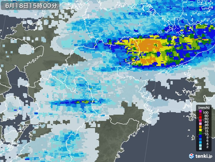 大分県の雨雲レーダー(2020年06月18日)