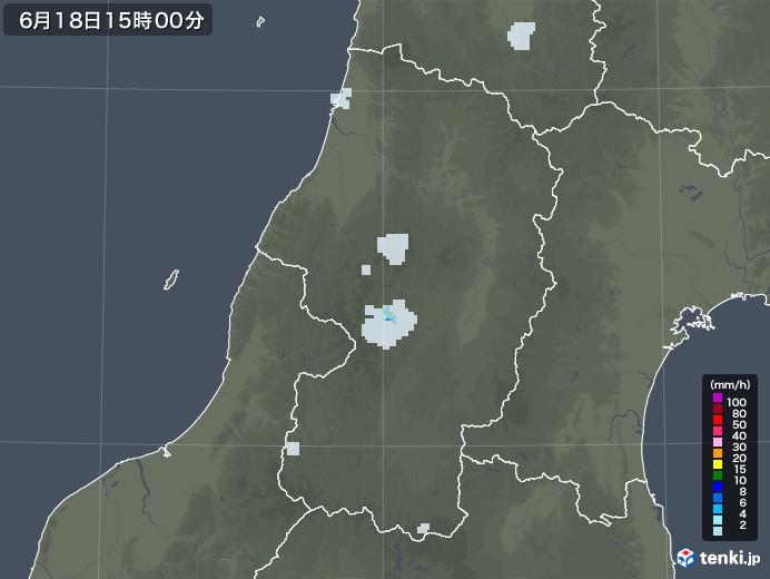 山形県の雨雲レーダー(2020年06月18日)