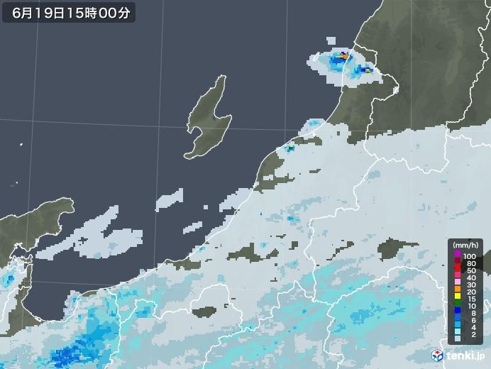 新潟県の雨雲レーダー(2020年06月19日)