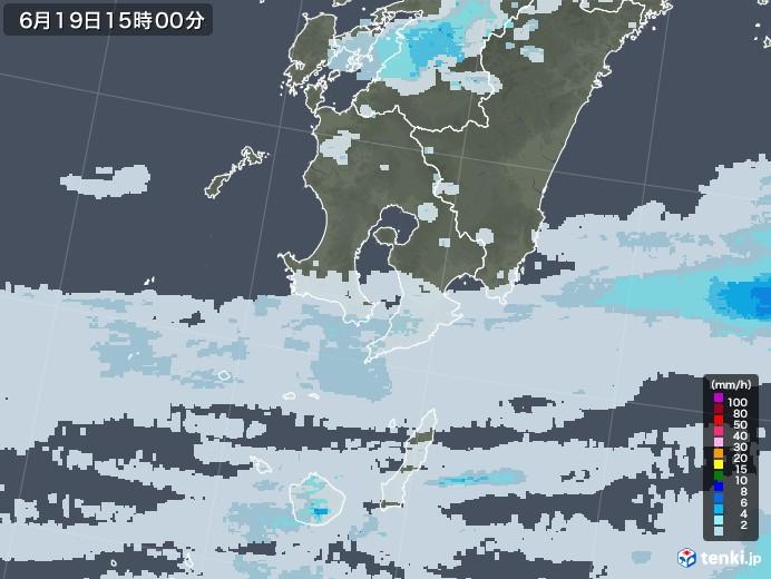 鹿児島県の雨雲レーダー(2020年06月19日)