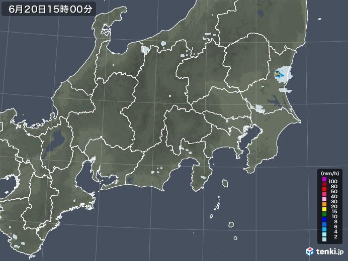関東・甲信地方の雨雲レーダー(2020年06月20日)