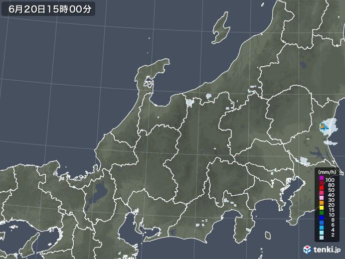 北陸地方の雨雲レーダー(2020年06月20日)