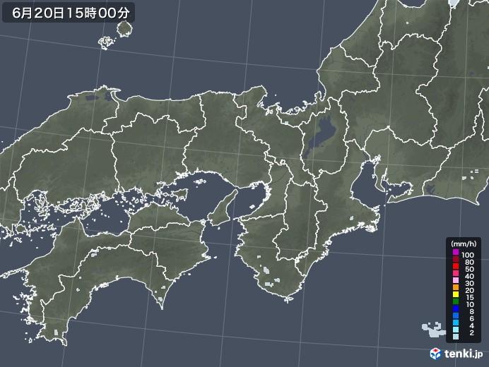 近畿地方の雨雲レーダー(2020年06月20日)