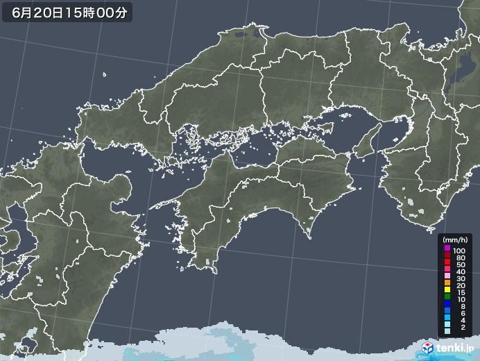 四国地方の雨雲レーダー(2020年06月20日)