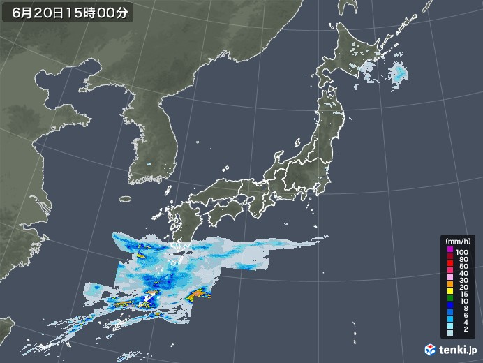 雨雲レーダー(2020年06月20日)