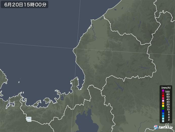 福井県の雨雲レーダー(2020年06月20日)