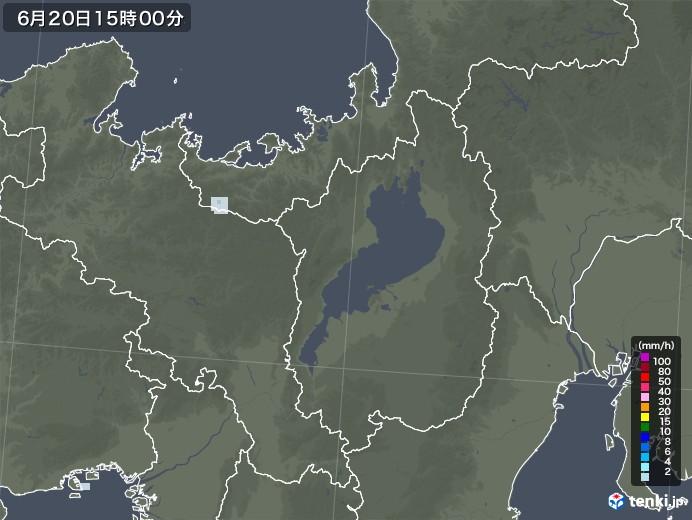滋賀県の雨雲レーダー(2020年06月20日)