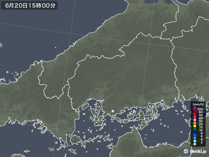 広島県の雨雲レーダー(2020年06月20日)