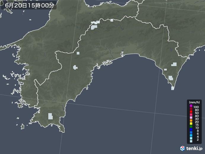 高知県の雨雲レーダー(2020年06月20日)