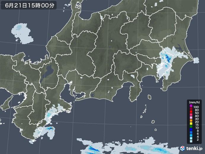 東海地方の雨雲レーダー(2020年06月21日)