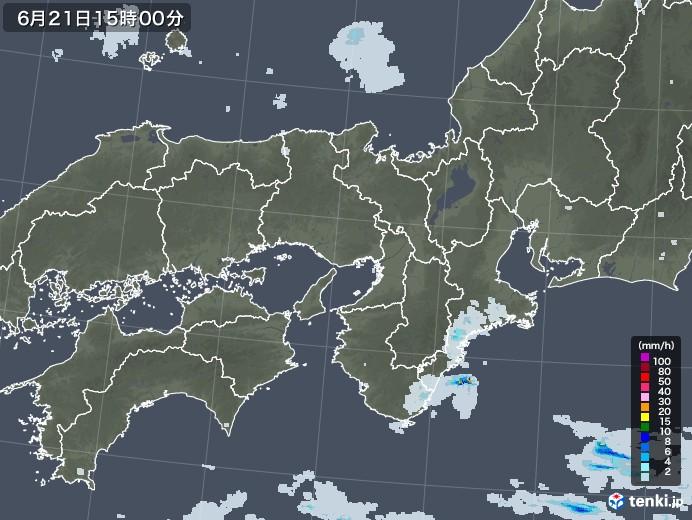 近畿地方の雨雲レーダー(2020年06月21日)