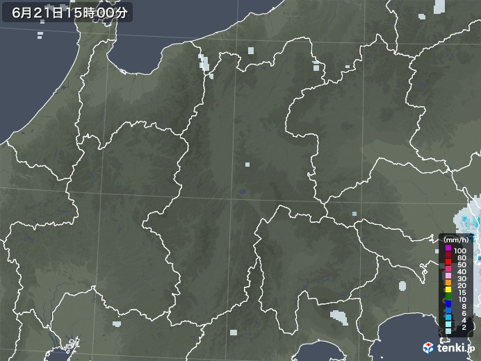 長野県の雨雲レーダー(2020年06月21日)