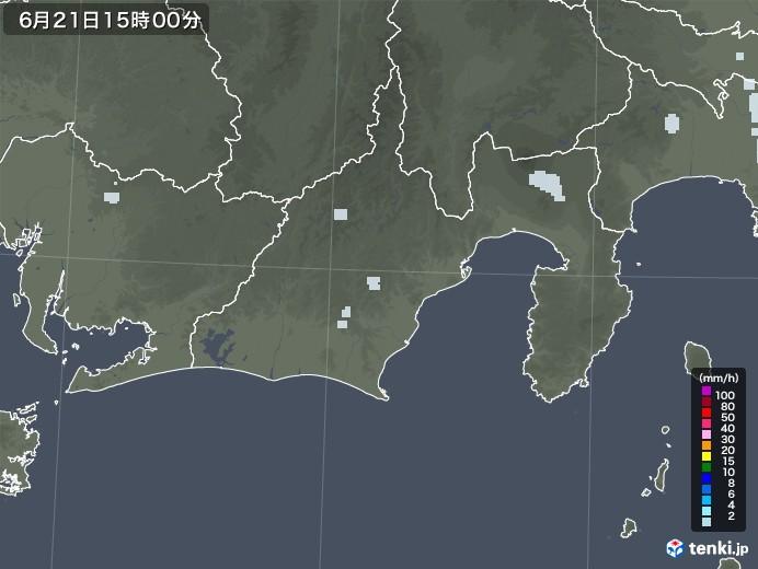 静岡県の雨雲レーダー(2020年06月21日)