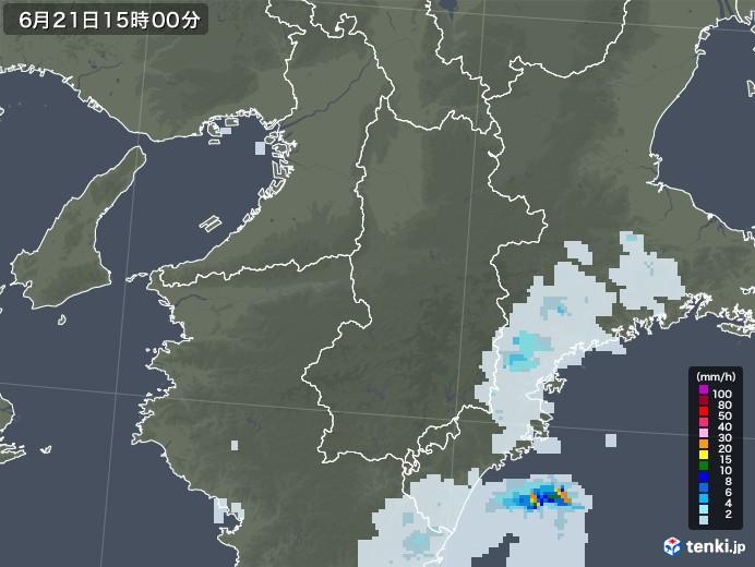 奈良県の雨雲レーダー(2020年06月21日)