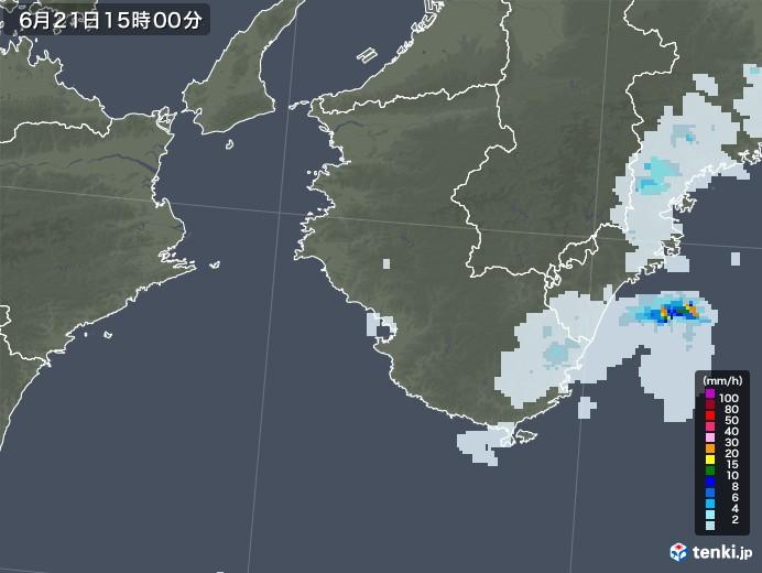 和歌山県の雨雲レーダー(2020年06月21日)