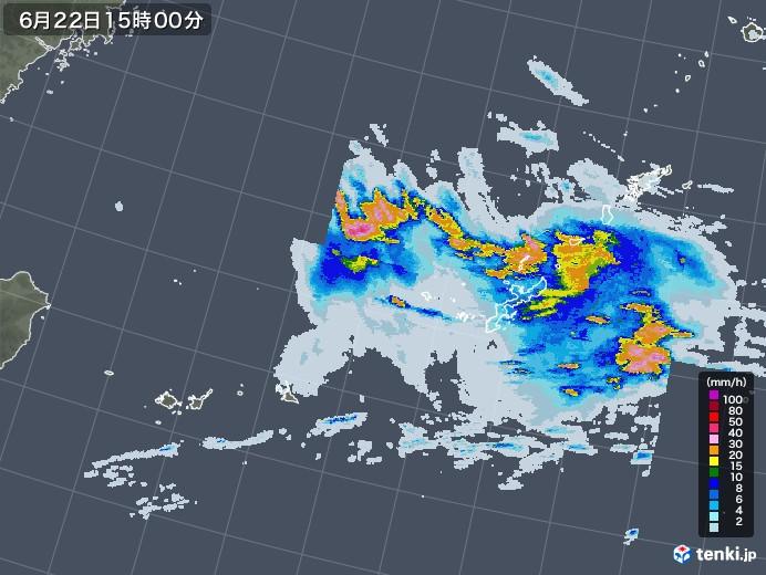 沖縄地方の雨雲レーダー(2020年06月22日)