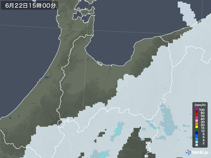 富山県の雨雲レーダー(2020年06月22日)