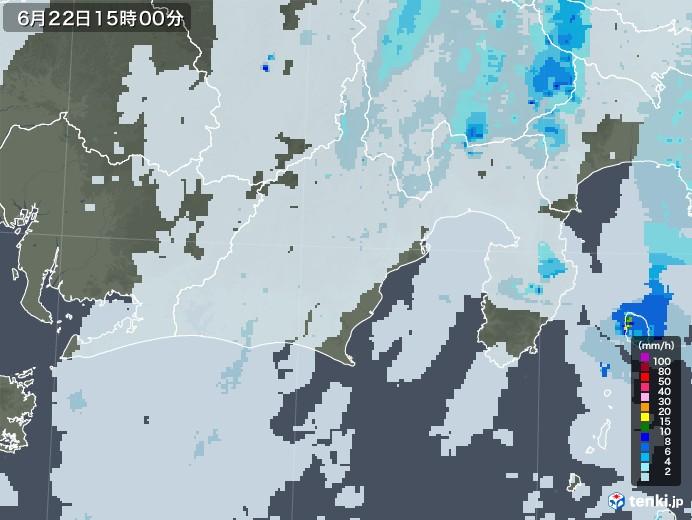 静岡県の雨雲レーダー(2020年06月22日)