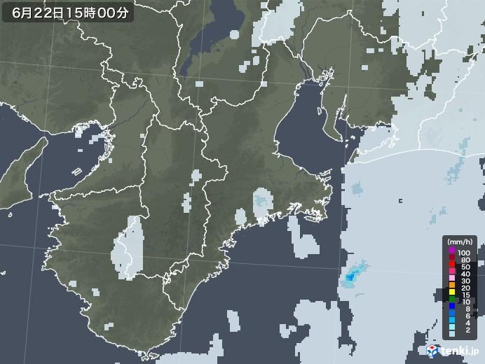 三重県の雨雲レーダー(2020年06月22日)