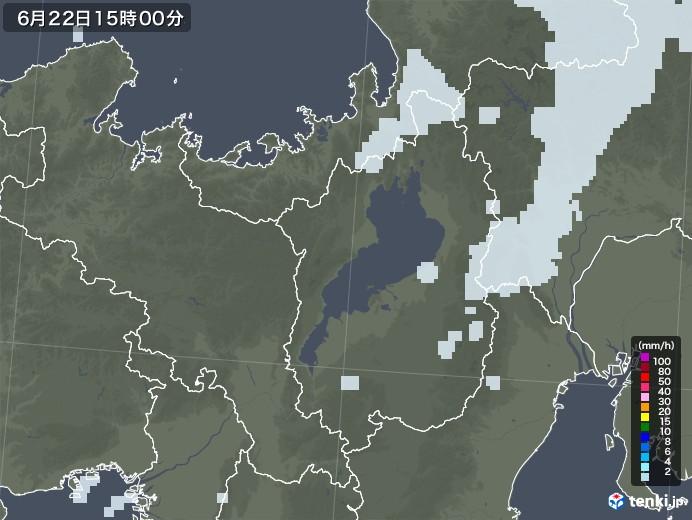 滋賀県の雨雲レーダー(2020年06月22日)