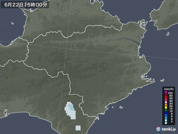徳島県の雨雲レーダー(2020年06月22日)