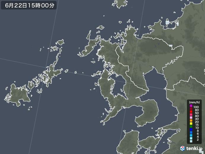 長崎県の雨雲レーダー(2020年06月22日)